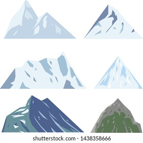 A set of some snow rocks and mountains
