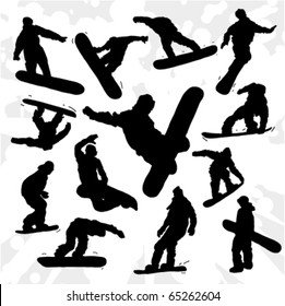 Set of Some Snowboarders Silhouettes Hand Drawn