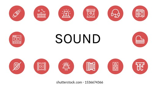 Set of sound icons. Such as Whistle, Drum, Alarm, Dvd player, Headphones, Radio, Deaf, Video player, Listening, Accordion, Speaker, Filter, Video web, Grand piano , sound icons
