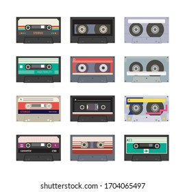 Set of sound stereo recorder tape or retro analogue music cassette from 80s - 90s ages colorful icons, flat vector illustration isolated on white background.