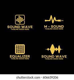 Set of Sound wave Logo, Equalizer Logo template design