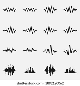 Set of sound waves black and white vector icon.