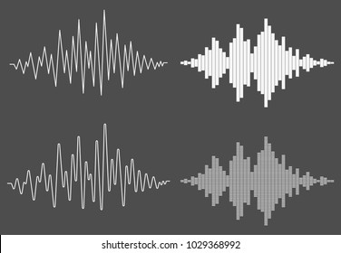 Set of sound waves on black background. Audio equalizer technology, pulse musical. Music wave. Template design for club, radio, pub, party, concerts, recitals. Vector illustration