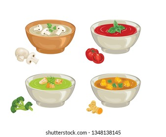 Set of soups for bowls. Gazpacho, curry, broccoli, mushroom cream soup isolated on a white background. Vector illustration of plates of food in cartoon simple flat style.