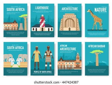Set of South Africa country ornament travel trip concept. Art traditional, magazine, book, poster, abstract, banners, element. Vector decorative ethnic greeting card or invitation design background