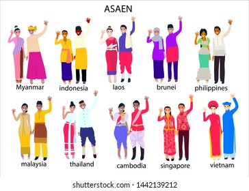 Set of south east asian people in traditional costume, eps10 vector.