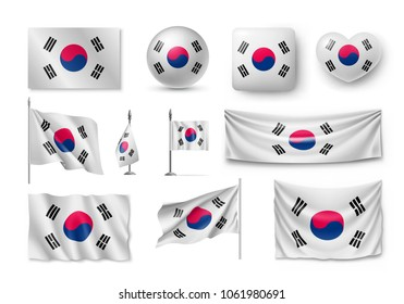 Set South Korea flags, banners, banners, symbols, flat icon. Vector illustration of collection of national symbols on various objects and state signs