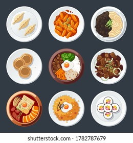 Set of South Korean Dishes vector illustration, include korean mandu tteokbokki, jajangmyeon, hotteok, bibimbap, bulgogi, budae jjigae, kimchi fried rice, kimbab