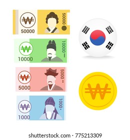 Set of South Korean won (KRW) currency banknotes isolated on white background, vector illustration