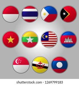 Set of Southeast Asia Flags Round Button