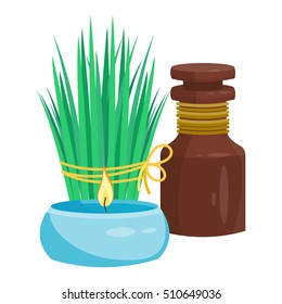 Set of spa compositions with candles, flowers, grass and bottle with oil. Vector illustration for salon. Cartoon style