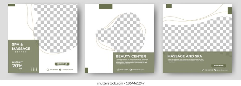Set of spa and massage social media template. Square banner template with green color and white background.Flat design vector with photo collage. Suitable for social media, banner and web internet ads