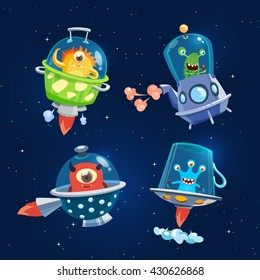 Set of space aliens, monsters. Dark background. Vector, illustration