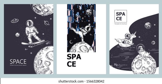 Set of space banners. Astronaut swim on swimming circle of a unicorn in the space. Astronauts snowboarding and ice skating.Pug astronaut is sitting on a planet. Template for brochures,magazines, poste