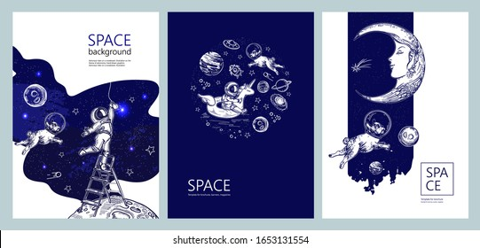 Set of space banners. Astronaut swim on swimming circle of a unicorn. Astronaut is screwing a light bulb. Moon face. Pug astronaut flies in space. Template for brochures, banners, magazines.