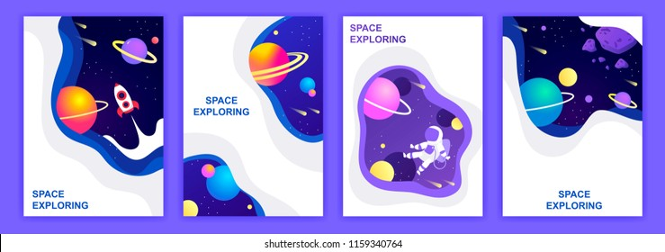 set of space banners. vector illustration. cover design. sky, planets and stars