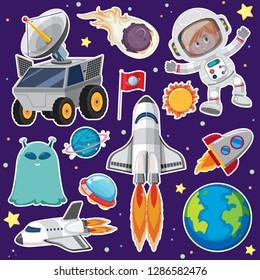 Set of space element illustration