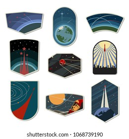 Set of Space Emblems, Chevrons, Logos