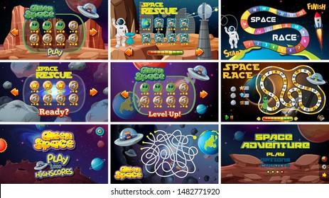 Set of space games illustration