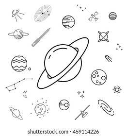 Set of space icons. Astronomy, astrology line design elements. Un-expanded strokes. Vector illustration EPS 10