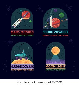 Set of space icons. The mars misson, probe voyager, space rover and moon light on a background of outer space.