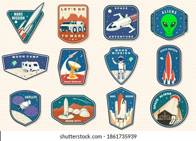 Set of space mission logo, badge, patch. Vector. Concept for shirt, print, stamp. Vintage typography design with space rocket, alien on the moon and earth silhouette