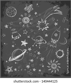 Set of space objects sketch on black chalkboard. Vector illustration.