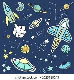 set of space objets stickers patches and design elements, design for children