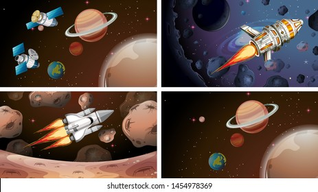 Set of space scenes illustration