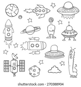 Set of Space ships, planets, and aliens, hand drawn, vector illustration
