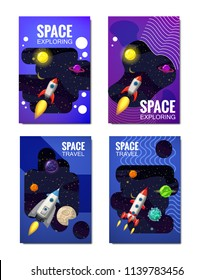 Set of space Template , space travel, exploration of the universe, other planets, flying rockets, stars of distant galaxies, vector, banner, illustration, isolated. Template of flyear, magazines