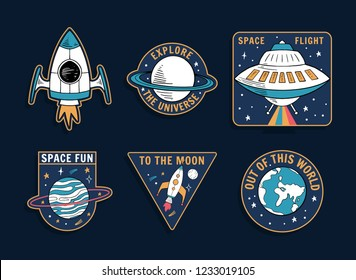 Set of space theme vector graphics , patches, emblems, badges and labels.