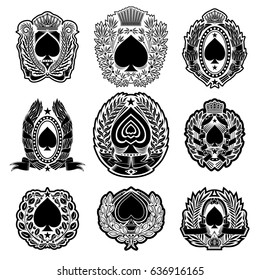 Set of spades for ace of spades or t-shirt print in vintage style silhouettes on white. Vector card template