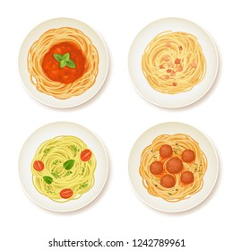 Set of spaghetti dishes isolated on white. Top view, vector illustration.