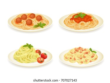 Set of spaghetti dishes isolated on white. Vector illustration.