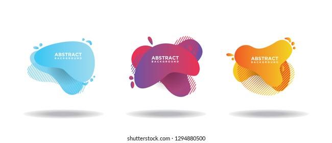 Set spanduk vektor abstrak modern. Bentuk cairan geometris datar dengan berbagai warna. Template vektor modern, Templat untuk desain logo, selebaran, atau presentasi. EPS 10