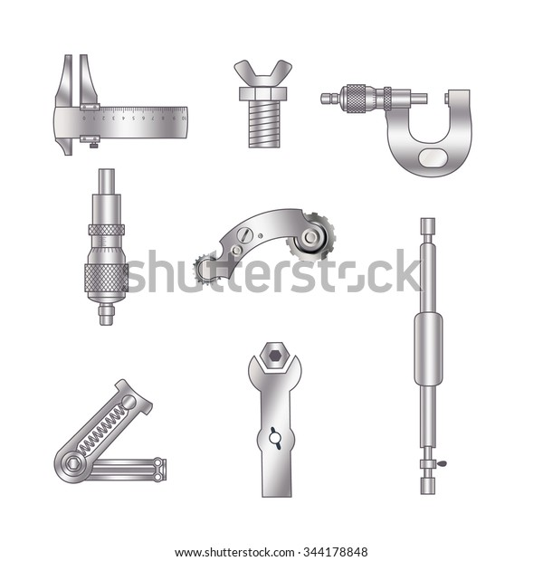 Set Spare Parts Machining Tools Industrial Stock Vector