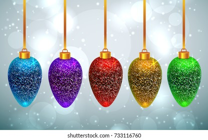 Set of sparkled and shining rainbow Christmas toys on light grey background with bokeh effect. New year and Christmas greeting card template. Vector EPS10 file.