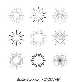 Set of Sparkles and Bursts. Flash Vintage Design Elements