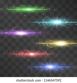 Set of sparkling streams, glowing light laser effect isolated on transparent background. Luxurious backdrops with sundogs, stripe flares and glitter. Warm illumination for splendent, rich design.