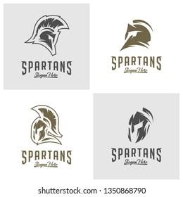 Set of Spartan Logo Vector, Sparta Logo Vector, Spartan Helmet Logo Template, Icon Symbol