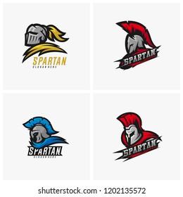 Set of Spartan warrior logo design vector illustration. Warriors sport team logo design.
