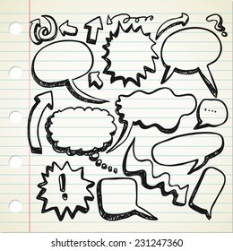 set of speak bubble in doodle style