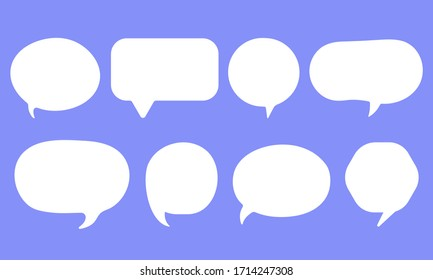 Set of speak bubble text, chatting box, message box outline cartoon vector illustration design. Balloon doodle style of thinking sign symbol.