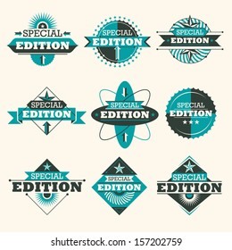 Set of special edition labels. Vector illustration.
