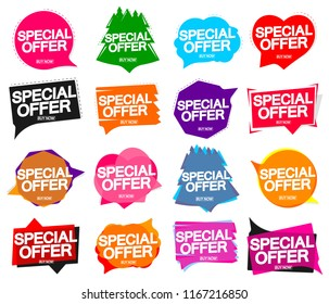 Set Special Offer banners, sale speech bubble tags, design template, app icons, vector illustration