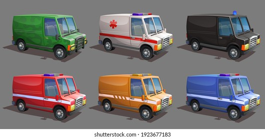 A set of special services vehicles. Ambulance van, fire aid van, military and police cars, maintenance vehicle.