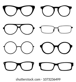 Set of spectacles, eyeglass frames, different shapes round and square, stylish, without glass silhouette, black lines, stylized simple drawing, black and white, Isolated object, White background
