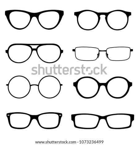 Set Spectacles Eyeglass Frames Different Shapes Stock Vector ...