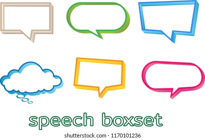 a set of speech box with pastel colors
